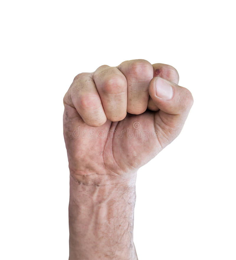 Closeup av den högra manliga handen som lyfts upp den grep hårt om näven royaltyfria foton