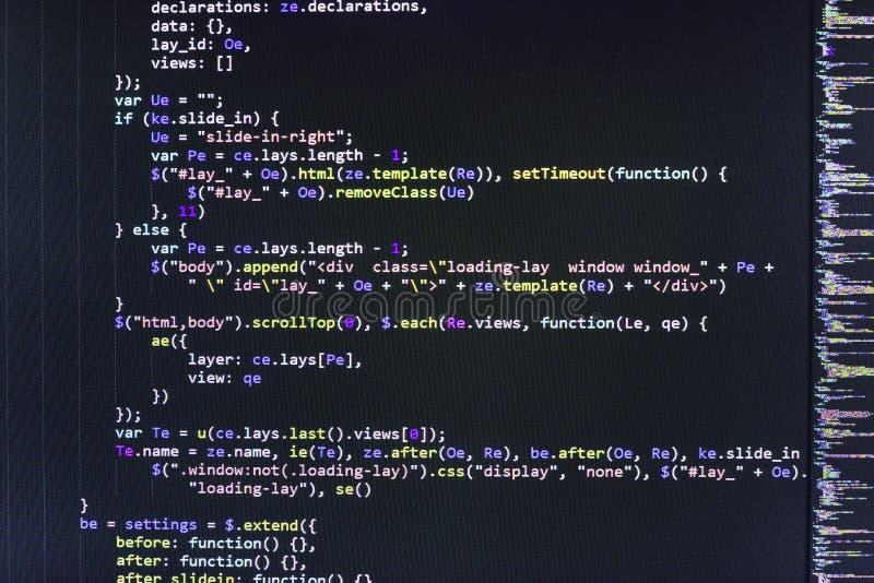 Closeup av den Java Script, CSS- och HTML-koden fotografering för bildbyråer