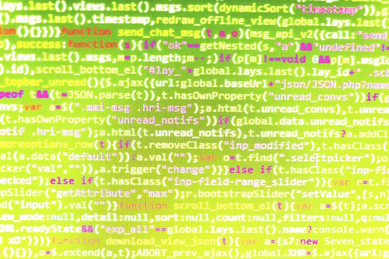 Closeup av den Java Script, CSS- och HTML-koden royaltyfria bilder