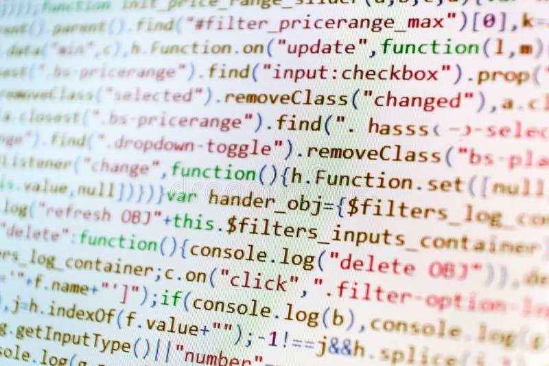 Closeup av den Java Script, CSS- och HTML-koden royaltyfri bild