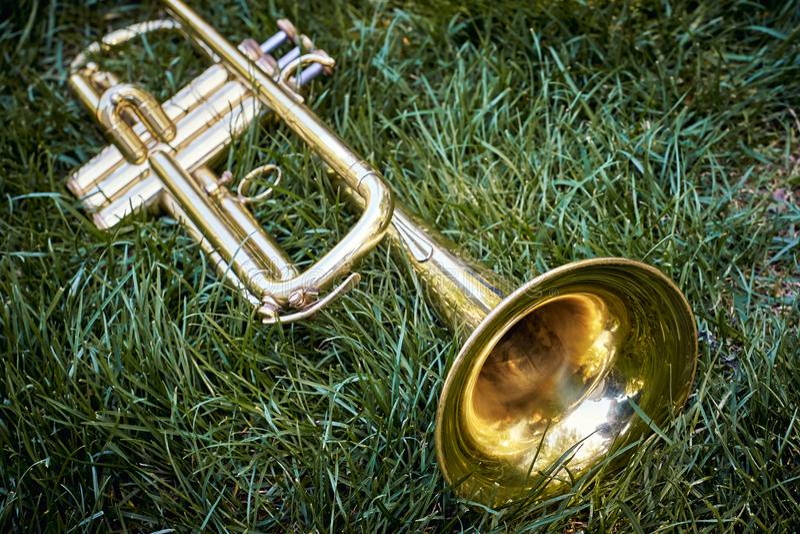 Closeup av den mässingsmusikaliska guld- orkestertrumpeten royaltyfria bilder