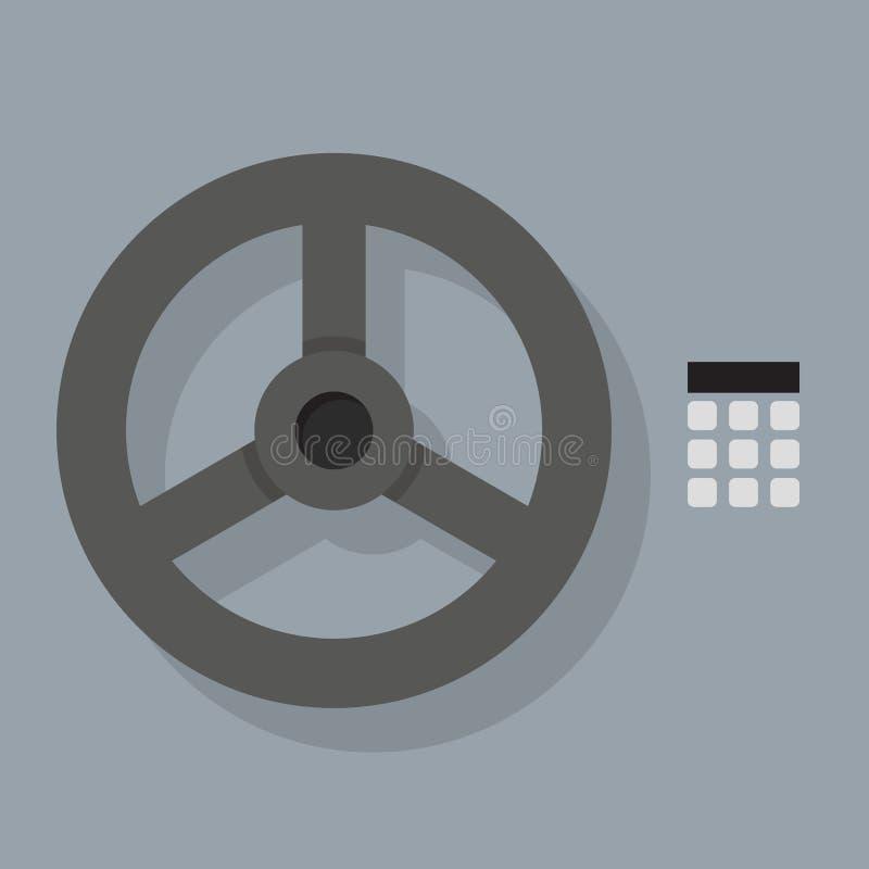 Closeup av den säkra dörren för bankvalv royaltyfri illustrationer