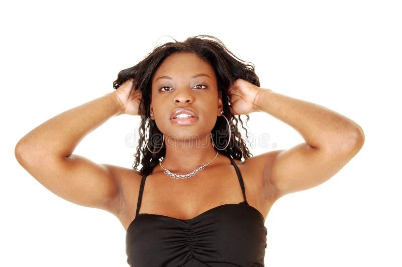 Closeup av den svarta flickan. royaltyfri foto
