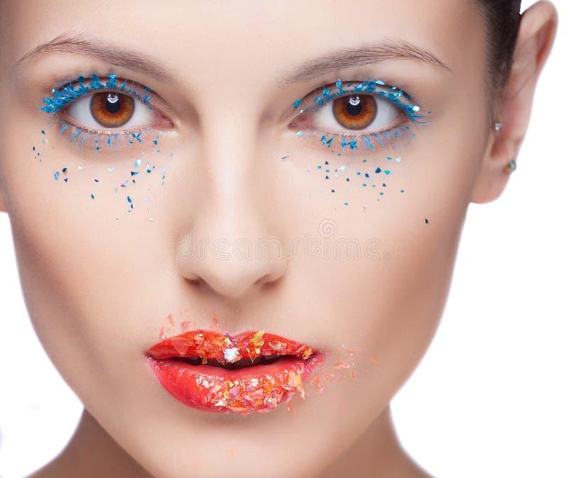 Closeup av det härliga kvinnaögat med makeup royaltyfri foto