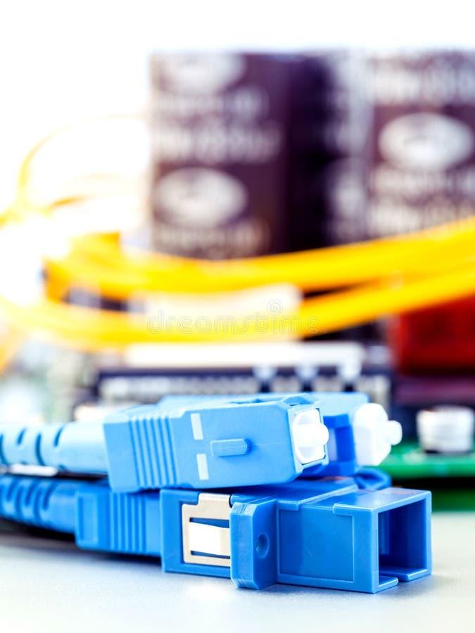Closeup av det optiska kontaktdonet för fiber royaltyfri fotografi