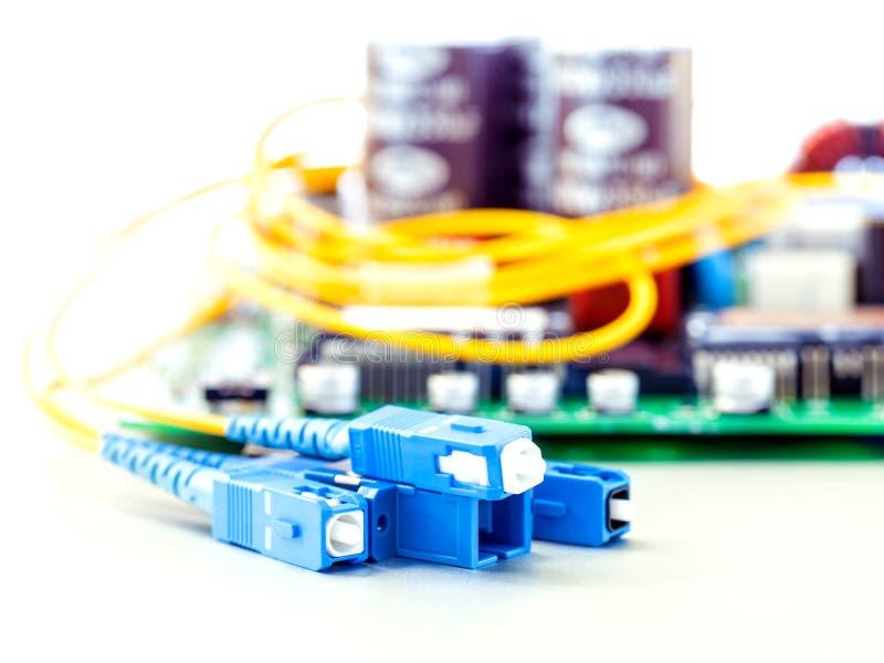 Closeup av det optiska kontaktdonet för fiber arkivbild