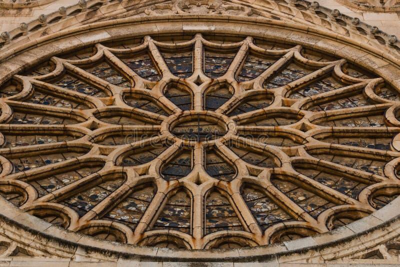 Closeup av det rosa fönstret för strömförsörjning av Leon den gotiska domkyrkan i Spai royaltyfri foto