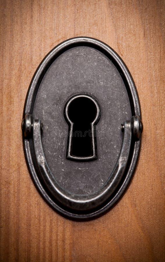 Closeup av en gammal keyhole arkivfoton