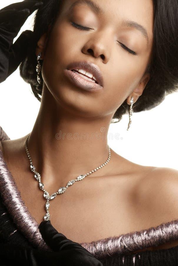 Closeup av en modell för högt mode royaltyfria foton