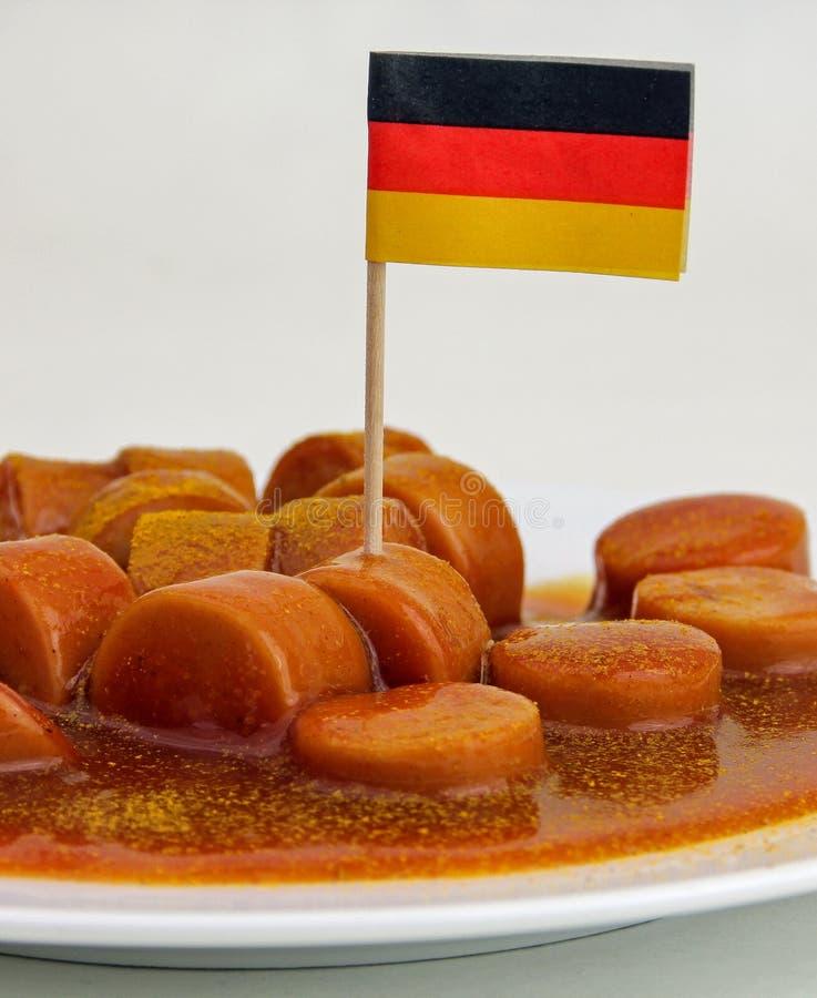 closeup av en tysk ryktad korv royaltyfria bilder