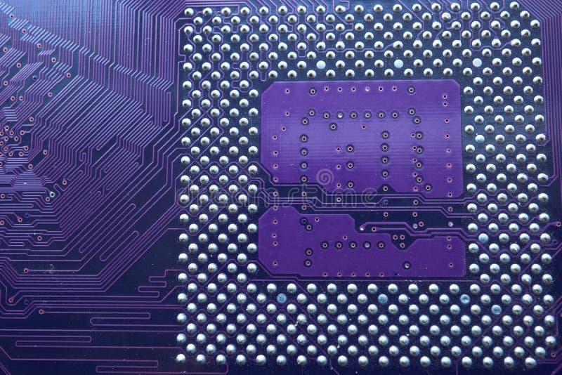 Closeup av enhetshåligheten för central processor på moderkortet royaltyfria bilder