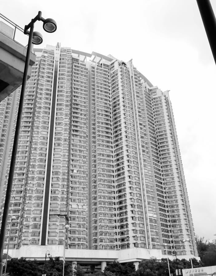 Closeup av enkla kommersiella byggnader i Hong Kong royaltyfri fotografi