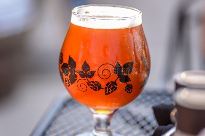 Closeup av ett enkelt exponeringsglas av öl utanför på en solig dag arkivfoton