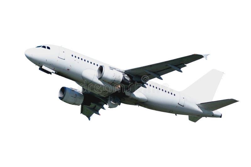 Closeup av flygflygplanet med tom livré som isoleras på vit bakgrund arkivfoto
