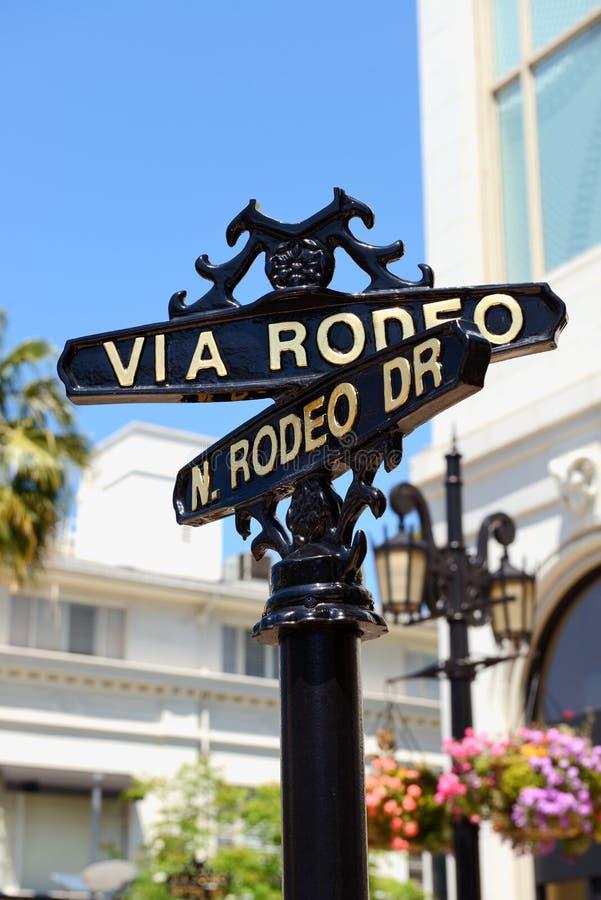 Closeup av gatatecknet för N Rodeodrev och via rodeodrev royaltyfri fotografi