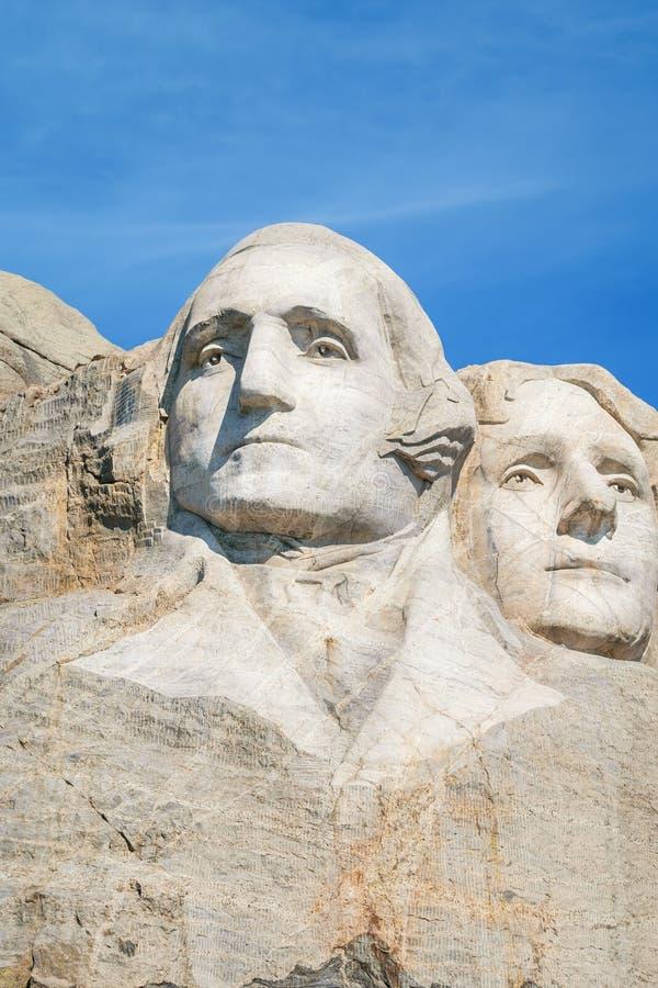 Closeup av George Washington och Thomas Jefferson Presidents- skulptur på Mount Rushmore den nationella monumentet, South Dakota, royaltyfri fotografi