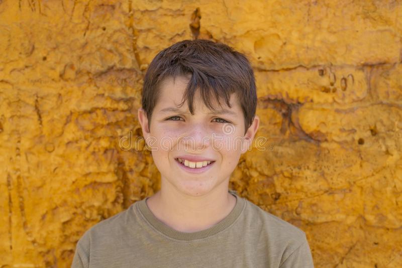 Closeup av gulligt ungt tonårigt le för pojke royaltyfri bild