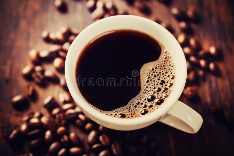 Closeup av kaffe med crema. Sikt från över. arkivfoto
