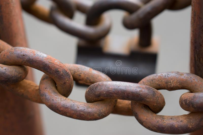 Closeup av kedjor för en metall arkivfoto