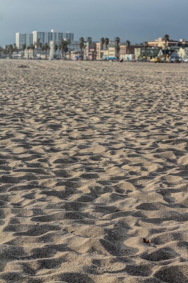 Closeup av sand på en strand i Kalifornien arkivfoto