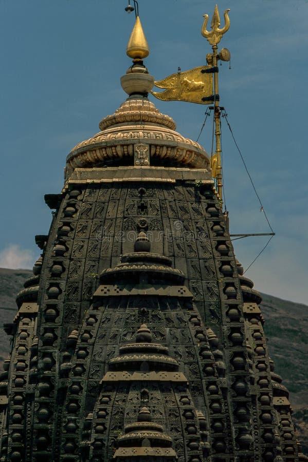 Closeup av shikhaen som jyotirling Trimbakeshwar Shiva Temple royaltyfria bilder