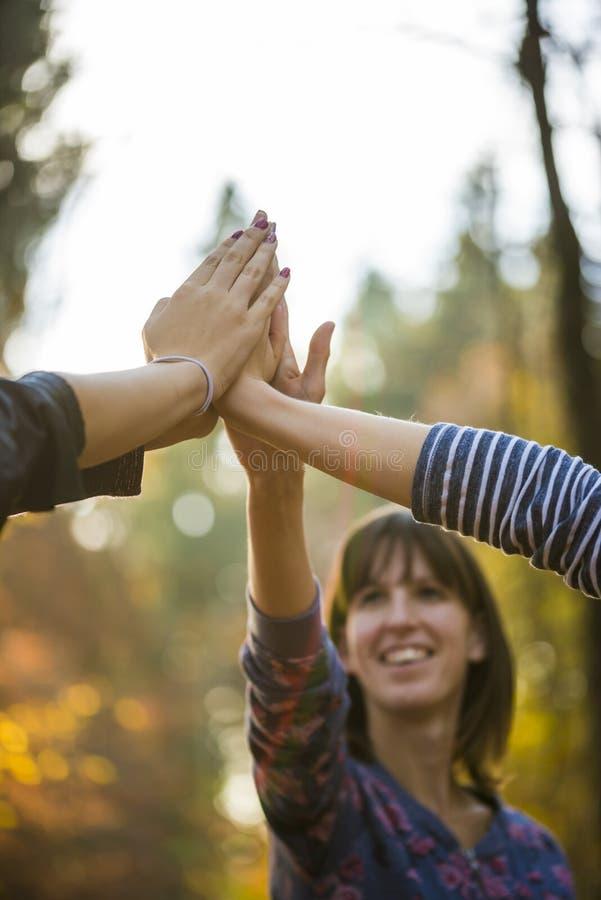 Closeup av tre kvinnor som sammanfogar händer högt upp i luften arkivbild