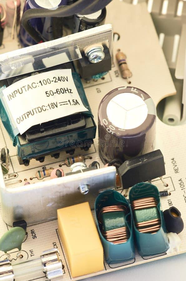 Closeup av video högtalaranläggningströmförsörjning, delar royaltyfri bild