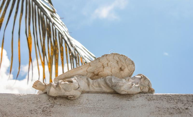 Closeup of baby angel statue sleeping in cemetary with blue cloudy sky and palm frond in background royalty free stock photo