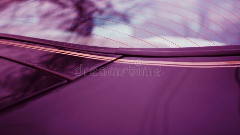Closeup of the back window of a modern sportscar stock photo