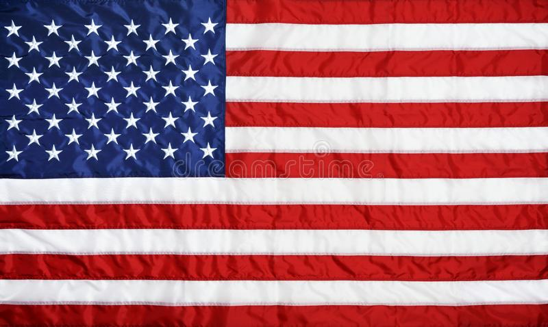 American flag background. Closeup background of American flag stock photo