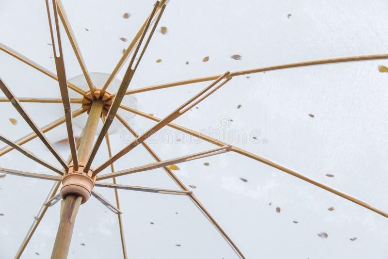 Closeup bamboo umbrella Asian style sunshade . royalty free stock photography