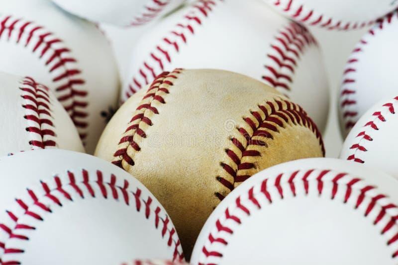 Closeup of baseball balls background stock photography