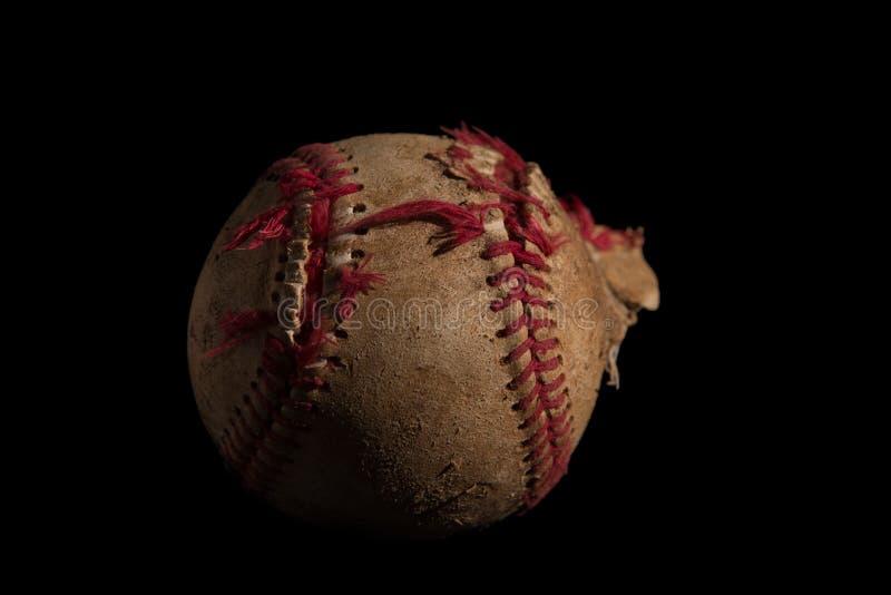 Closeup of a baseball. Close up of a used baseball stock photography