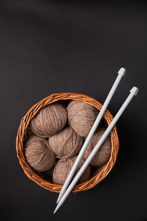 Closeup of basket with colorful yarn clews stock image