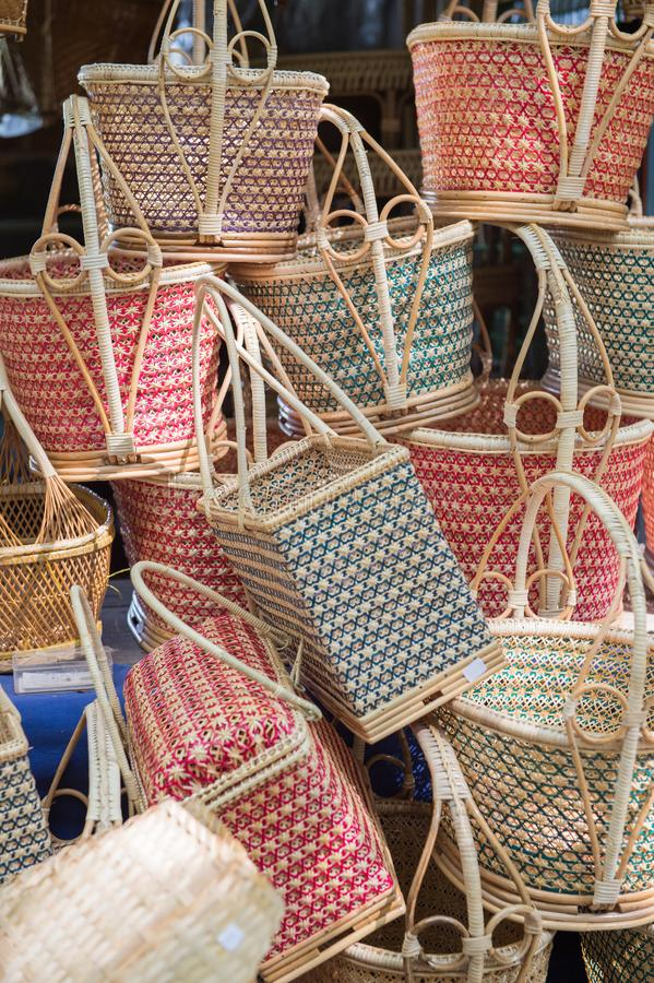 Closeup of basketwork design. Product royalty free stock photo