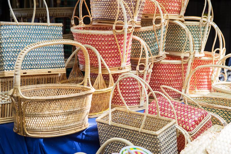 Closeup of basketwork design. Product royalty free stock photos