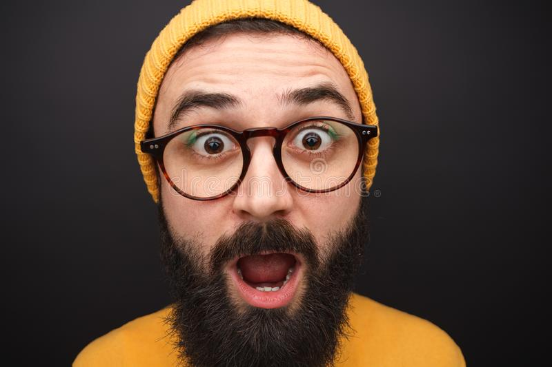 Amazed hipster man in closeup royalty free stock images