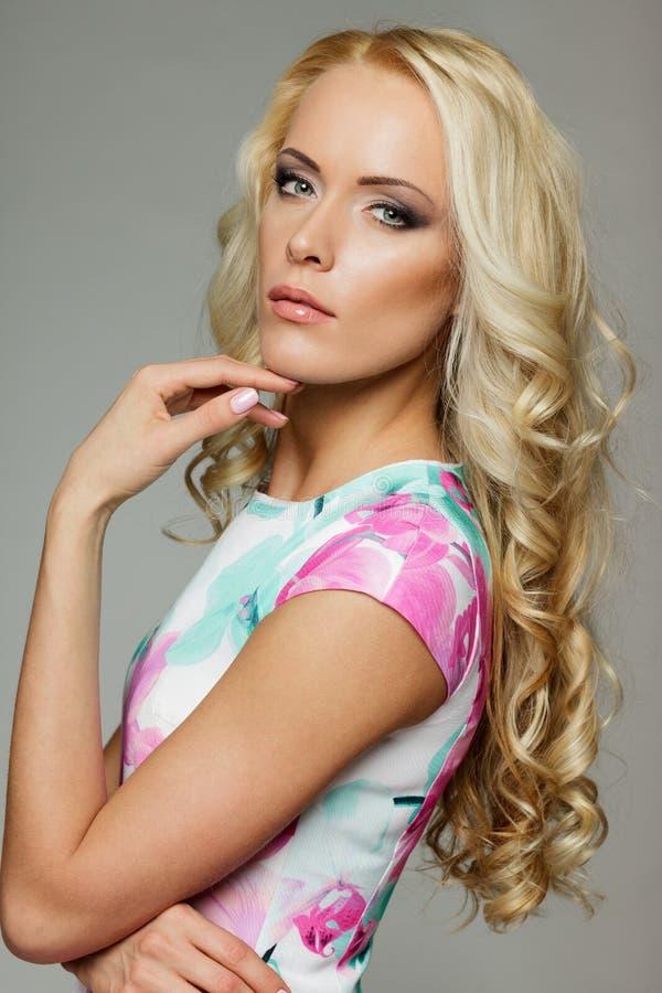 Closeup of beautiful blond female stock photography