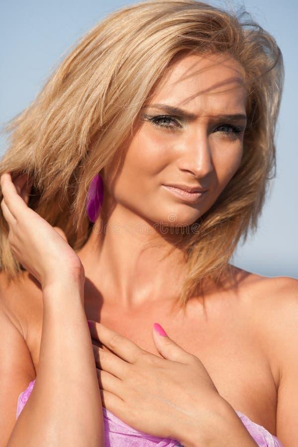 Closeup Of A Beautiful Blonde At Sea Royalty Free Stock Images