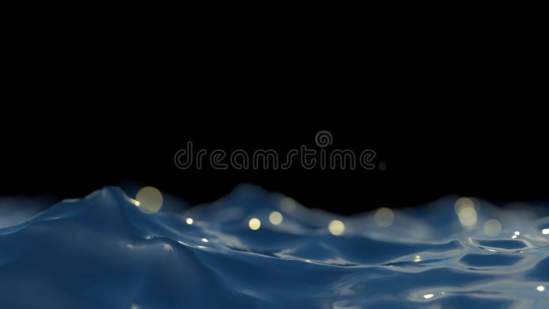 Closeup of beautiful clear deep blue turquoise sea ocean water surface with ripples and waves isolated on seascape black. Night background. horizontal picture vector illustration