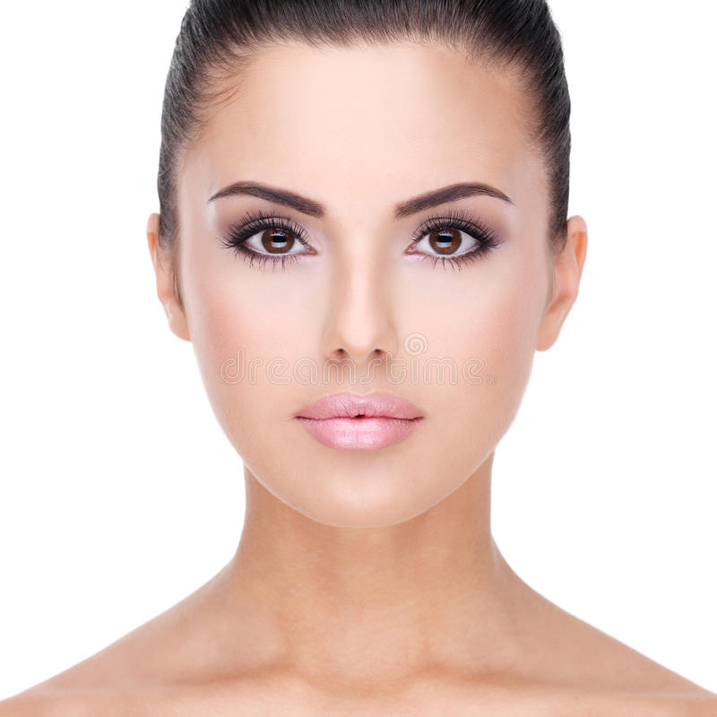 Closeup beautiful face of woman with clean skin royalty free stock images