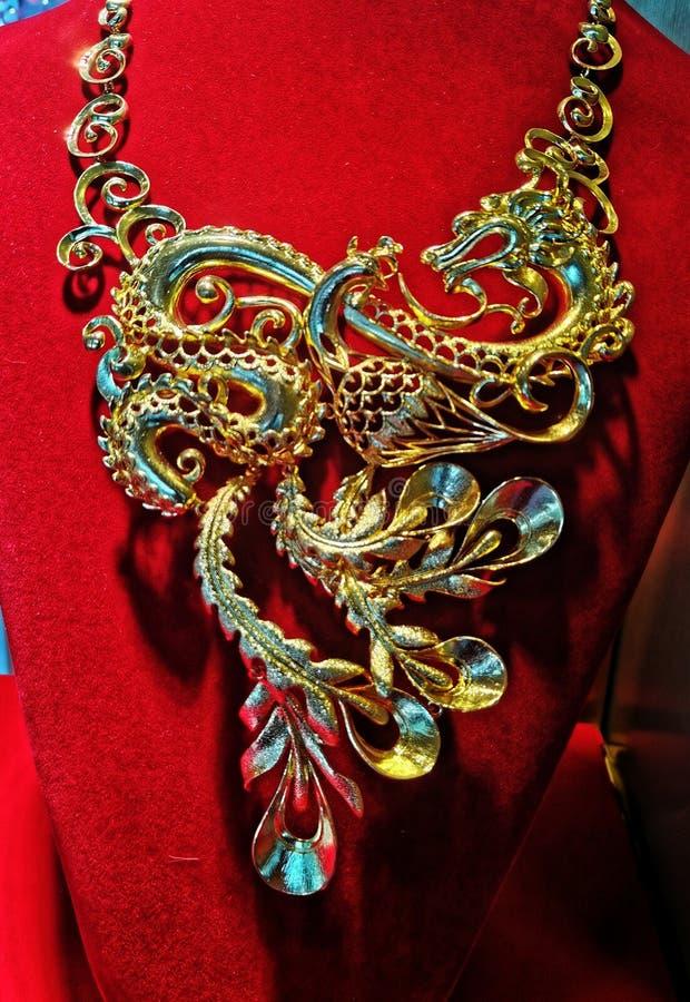 Closeup of gold jewelry stock image