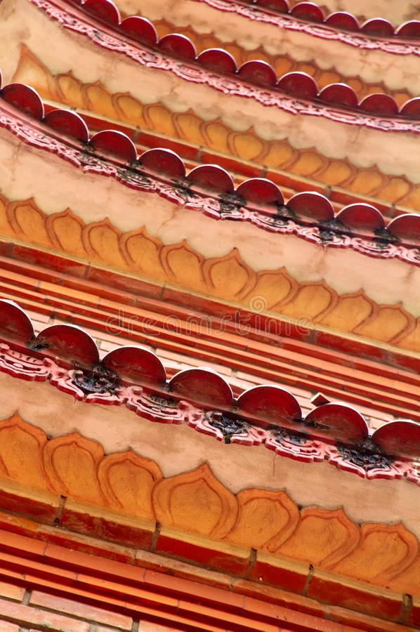 Closeup of roofline architectural details of the Tran Quoc Pagoda, Hanoi, Vietnam. Closeup of the beautiful red and orange repeating roofline of the iconic Tran royalty free stock images