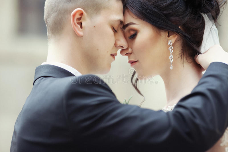 Closeup of a beautiful, sensual newlywed couple hugging and touching outdors royalty free stock image