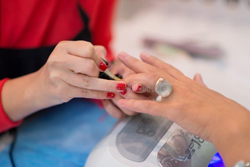 Closeup of beautiful woman hands getting manicure in spa salon stock image