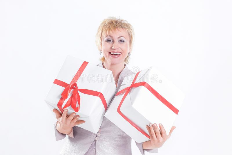 Closeup.beautiful woman with two gift boxes.  on a white background stock photo