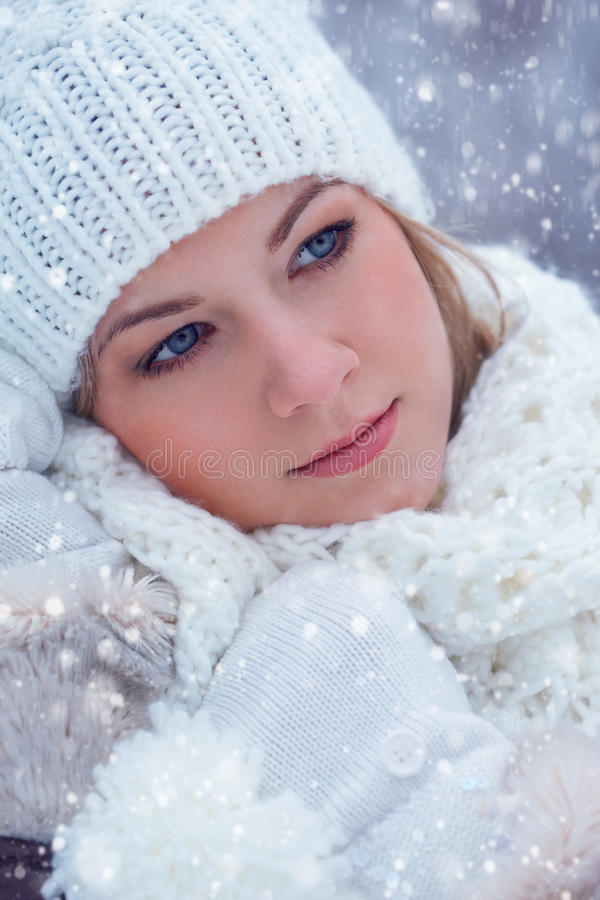 Closeup beautiful woman winter portrait stock image