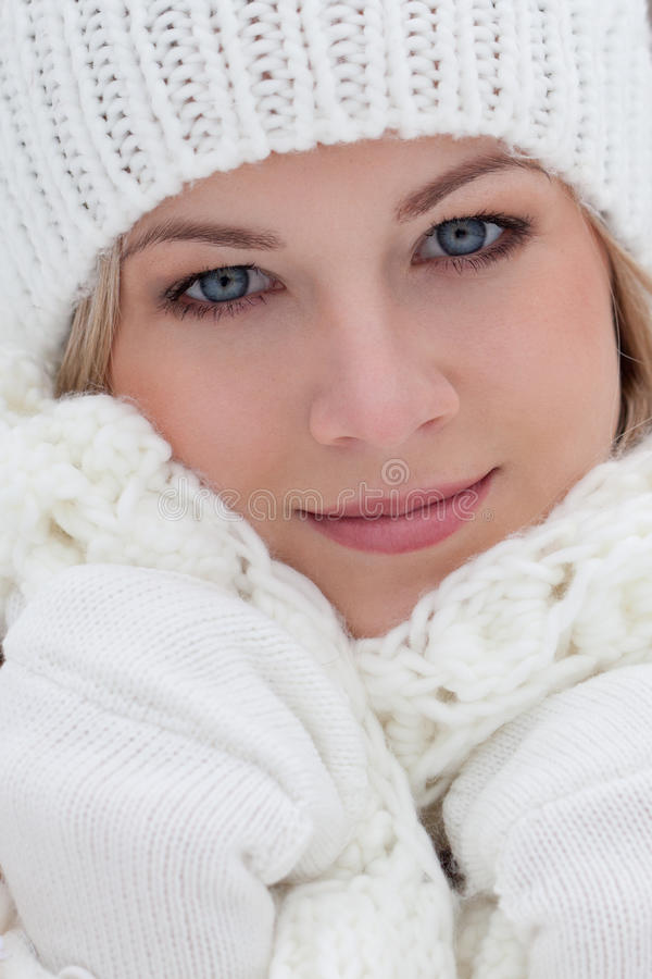 Closeup beautiful woman winter portrait royalty free stock photos