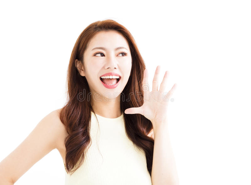 Closeup Beautiful young asian woman shouting royalty free stock image