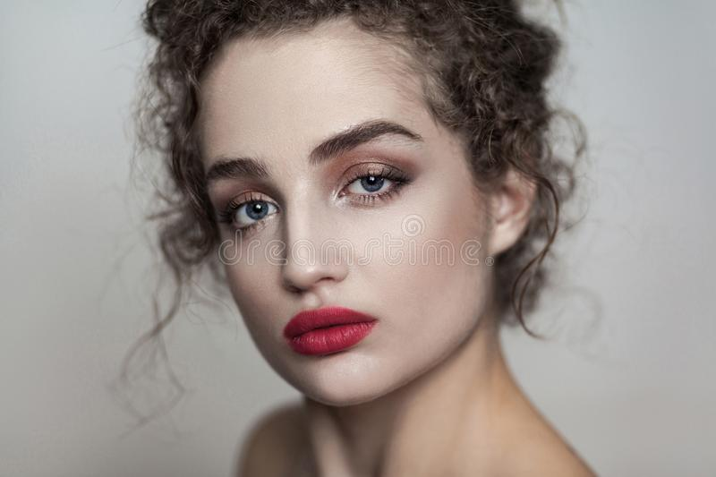 Closeup beauty portrait of young beautiful fashion model with co stock photography